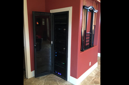 Red Game Room Audio & Video Rack System
