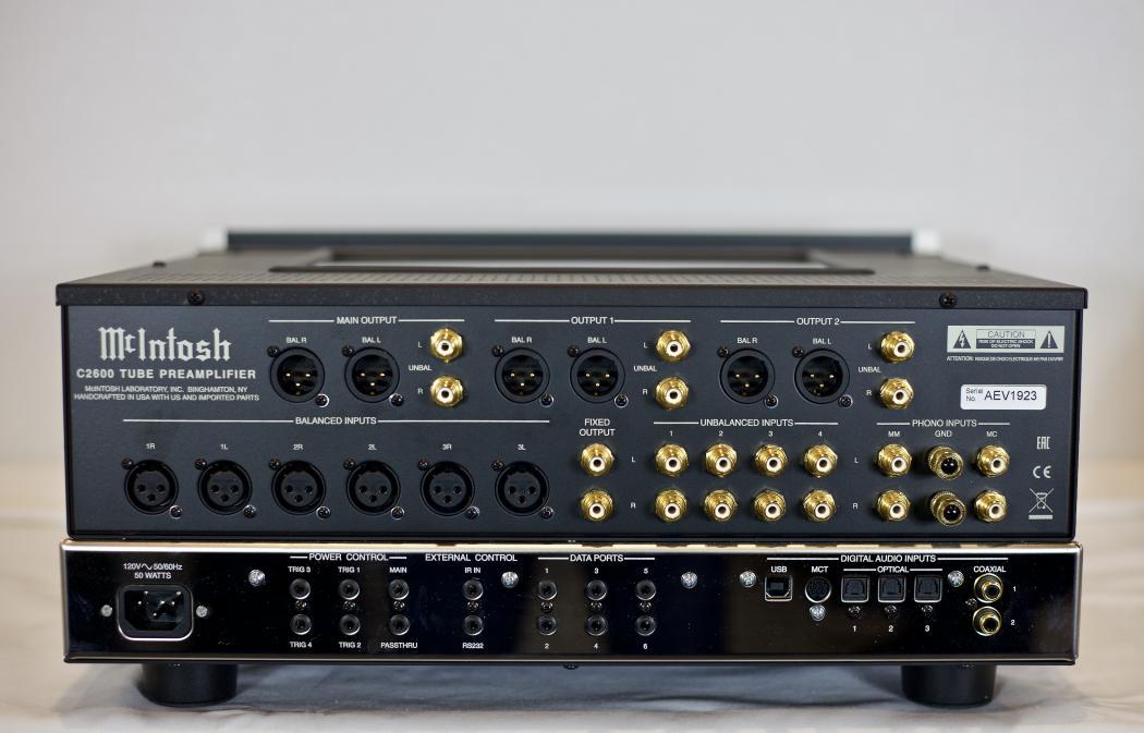 Back View, McIntosh C2600 Audio Amplifier.