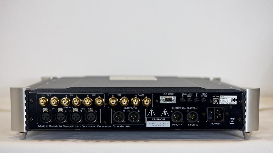 Back View, Moon 740P Preamplifier.